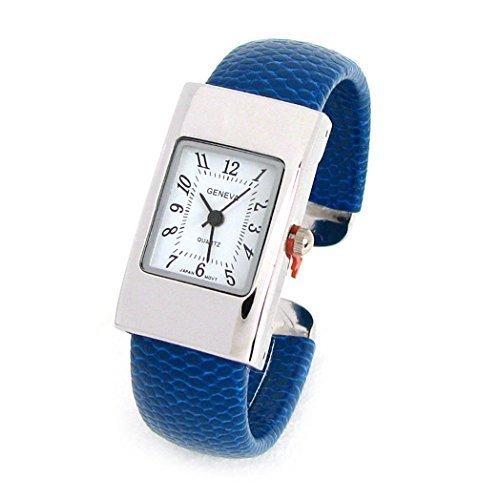 New Blue Geneva Snake Style Band Square Case Women's Bangle Cuff Watch