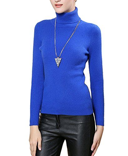 Fengtre Women's Turtleneck Cashmere Elastic Long Sleeve Slim-Fit Pullover Knit Sweater ()