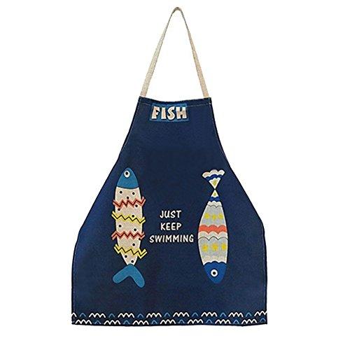Phantomon Cute Cartoon Apron Woman Fish Pattern Japanese Style Blue Cotton Kitchen Aprons Chef Cooking Apron Bib