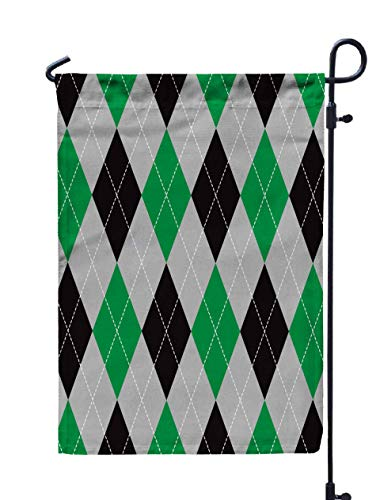 Jacrane Welcome Small Garden Flag 12X18 Inches Green Grey Background Double-Sided Seasonal House Yard Flags Decorative