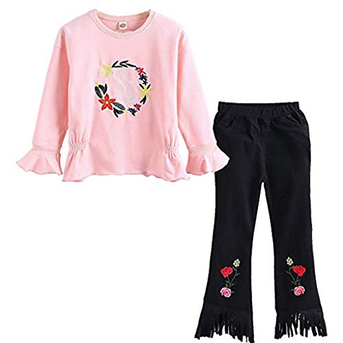 Xmiral 2Pcs Conjuntos de Camiseta Manga Larga Estampado Floral + ...