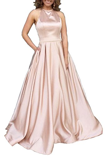 Women's Halter A-line Satin Formal Party Evening Gown Long Prom Dress with Pockets Size 2 Rose Gold ()