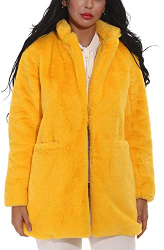 - Women Faux Fur Coat Jackets Outerwear Long Sleeve with Pockets Winter Soft Thick Yellow