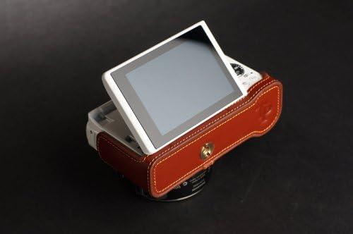 Handmade Genuine real Leather Half Camera Case bag cover for Panasonic GF6 GF-6 Brown color