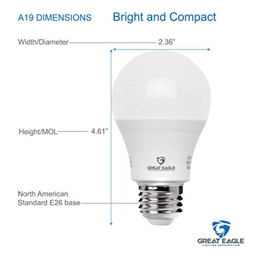 Great Eagle 100W Equivalent LED Light Bulb 1500 Lumens A19 2700K Warm White Non-Dimmable 15-Watt UL Listed (24-Pack)