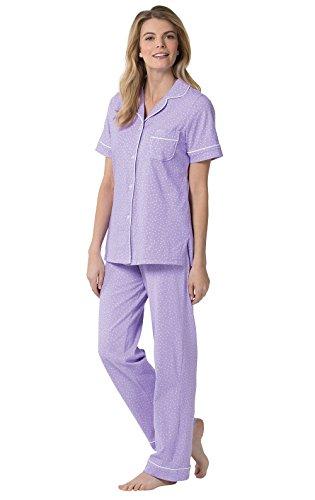 PajamaGram Pajama Set for Women - Soft Cotton Womens Pajamas, Lavender, XS, 2-4