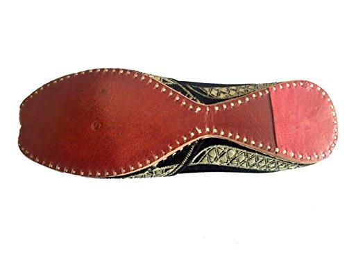 Trinn N Stil Kvinners Lær Khussa Flat Sandaler Loafer Jaipuri Jutti Sko Flerfarget