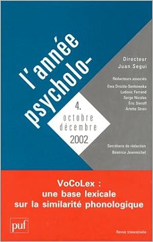 Livres gratuits L'Année psychologique 2002, numéro 4 pdf