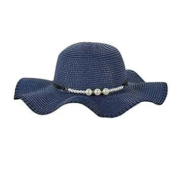 TUDUZ Mujer Sombrero Gran Ancho Sombrero De Paja De ala Perla ...