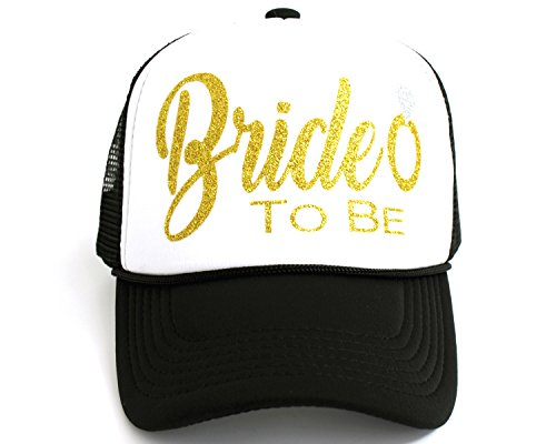 High Limit Bride to Be Diamond Ring Gold/White Trucker Hat with Gold Glitter Lettering]()