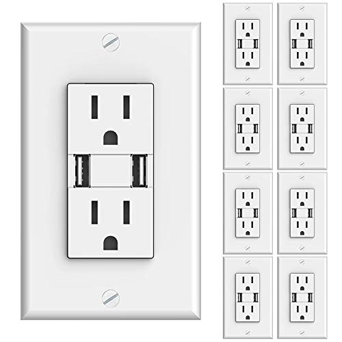 Sunco Lighting 8 Pack Wall Mount Charger USB Outlet, 15A Tamper Resistant Receptacle, 125VAC, 3.1AMP 5VDC Charging Capability, Duplex Receptacle, White - UL Listed