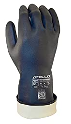 Apollo Performance Chemical Resistant Gloves 2064, Heavy Duty Neoprene Exterior, Flock Lined 30 mil Glove, Featuring Quick Response System and Instant QR Code Access, 1 Pair, X-Large, Navy Blue