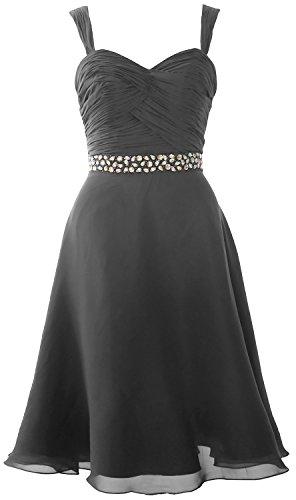 Formal Gown Short Dress Grau Chiffon Wedding Elegant Straps Cocktail MACloth Party SWUn8zqW