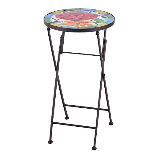 Homebeez Ladybug Flower Mosaic Foldable Round Plant Stand Accent Side Table, Black Color Tube Legs, Outdoor Indoor, Height 21 Inches