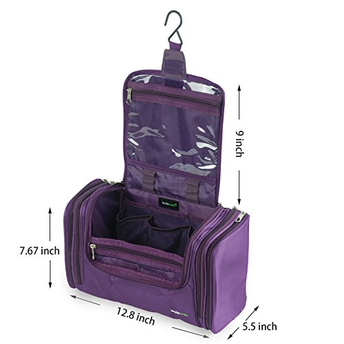Lavievert Toiletry Bag/Makeup Organizer/Cosmetic Bag/Portable Travel Kit Organizer/Household Storage Pack/Bathroom Storage with Hanging for Business, Vacation, Household - Purple by Lavievert (Image #4)