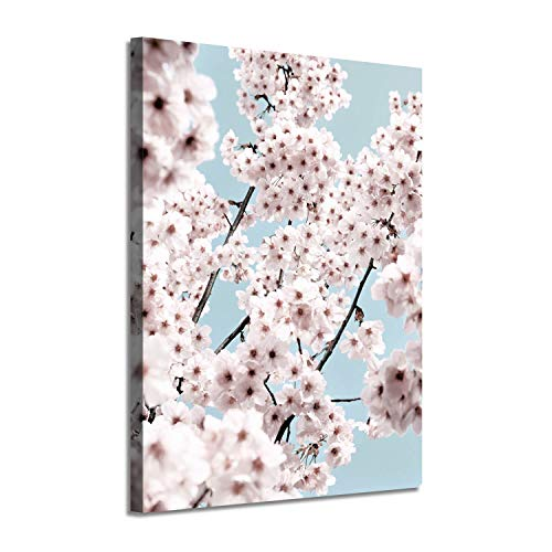 Flower Wall Art Canvas Painting: Spring White Blossoms Picture Floral Print Artwork for Living Room (24'' x 18'')