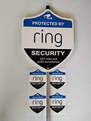 Ring Security Yard Sign with 4 Outside Window Stickers.