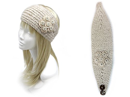 Rosemarie Collections Women's Knit Winter Headband With Floral Embroidery (Beige)