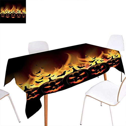 familytaste Vintage Halloween Dinning Tabletop Decoration Happy Halloween Image with Jack o Lanterns on Fire with Bats Holiday Table Cover for Kitchen 60