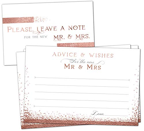 50 Rose Gold Wedding Advice Cards - Well Wishes for Bride & Groom - Perfect Guest Book Alternative, Bridal Shower Games, Wedding Decorations for Reception, Marriage Advice for Mr & Mrs
