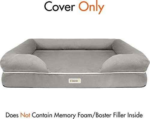 Friends Forever 100% Suede Super Deluxe Upgrade/Replacement Cover Bed/Couch Dog Bed (Pewter L Cover)