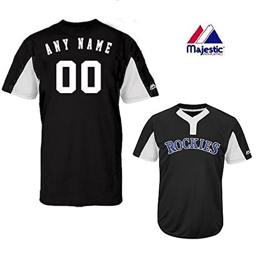 Colorado Rockies Authentic Cool Base - CUSTOM Youth Large Colorado Rockies 2-Button Placket Cool-Base MLB Licensed Jersey