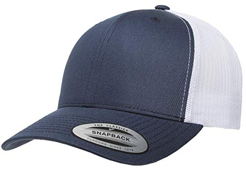 Hat Classic Blue Navy - Yupoong Retro Trucker Snapback Cap | Mesh Back, Adjustable Ballcap w/Hat Liner (Navy/White)