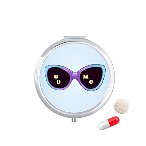 Colorized Illustration Pattern Sun Glasses Travel Pocket Pill case Medicine Drug Storage Box Dispenser Mirror - Illustration Sunglass