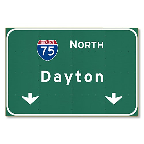 I-75 Interstate Dayton Ohio oh METAL Highway Freeway Sign : Novelty Reproduction Wall Decor Art :: STEEL :: not tin 36x24 - Ohio Green The Dayton