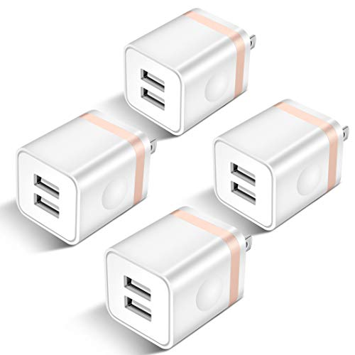 USB Wall Charger, STELECH 4-Pack 2.1Amp 2-Port USB Plug Cube Power Adapter Charger Block Compatible with Phone Xs Max/Xs/XR/X/8/7/6 Plus/5S, Samsung, LG, Moto, Nokia, Kindle, Android Phone -Upgraded ()