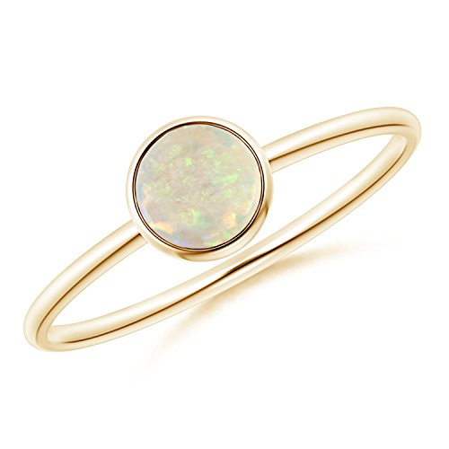 Bezel Set Round Opal Stackable Ring in 14K Yellow Gold (5mm Opal) ()