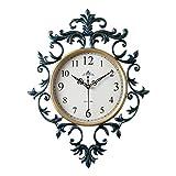 JYY Reloj De Pared silencioso Que no Hace tictac, eloj De Cuarzo Decorativo para Cualquier Habitación Sala De Estar Dormitorio Cocina,48x59cm,2 Colores (Color : Blue)