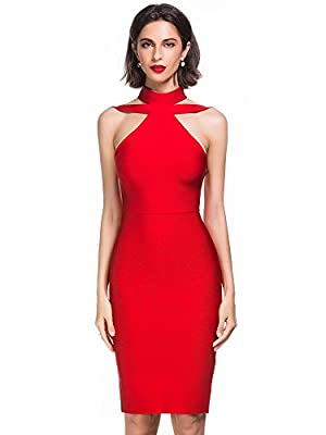 Alice & Elmer Women's Rayon Halter Cut Out Party Bodycon Bandage Dress