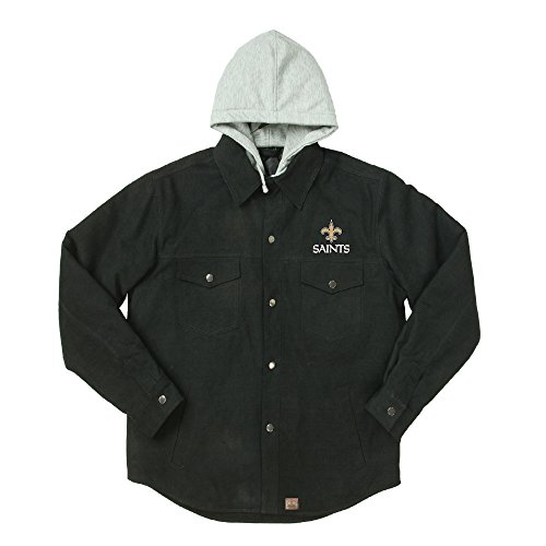 Dunbrooke Apparel NFL New Orleans Saints Dukane Canvas Quilt Lined Jersey Hooded Jacket, Black, Medium (New Orleans Saints Jacket Pullover)