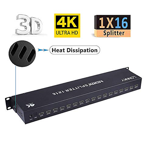 LONNKY HDMI Splitter 1 in 16 Out,1x16 Ports Box with Built-in EDID Management, Supports 4K@60Hz Full Ultra HD 1080P and 3D Compatible with PC STB Xbox PS4 PS3 Fire Stick Roku Blu-Ray Player HDTV (Video Distribution Hdmi)