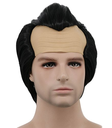 Karlery Men Short Straight Black Wig Halloween Cosplay Wig Anime Costume Party Wig
