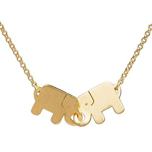 NOVICA 24K Gold-Plated .925 Sterling Silver Elephant Pendant Necklace, Elephant Friendship'