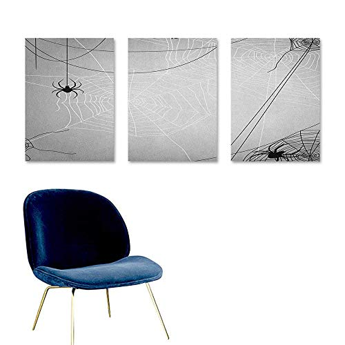 Spider Web Anti-Fading Oil Painting Spiders Hanging from Webs Halloween Inspired Design Dangerous Cartoon Icon On Canvas Abstract Artwork 3 Panels 16x24inch Grey Black White]()