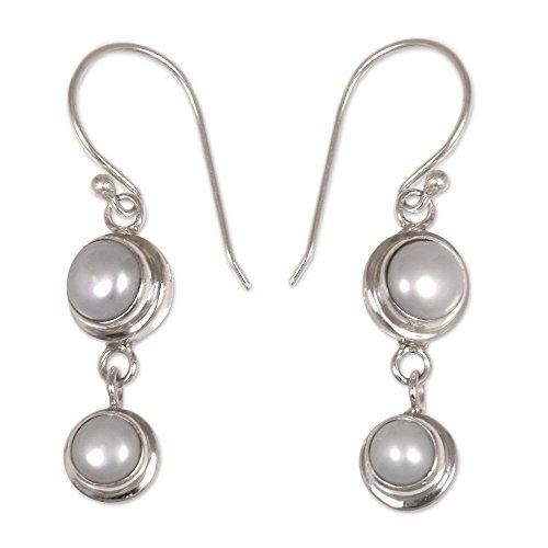 NOVICA Cultured Freshwater Pearl Sterling Silver Dangle Earrings, 'Two Full Moons'