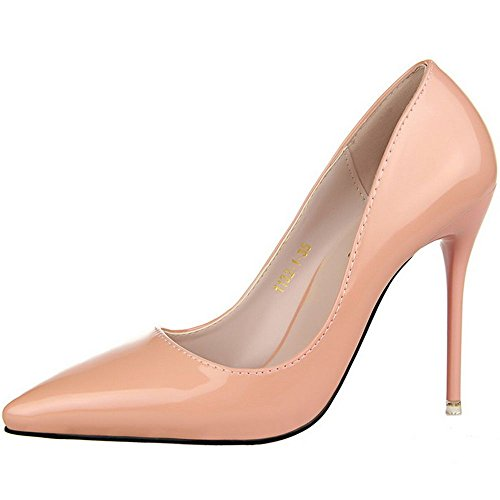 Office LongFengMa Sexy Patent Stiletto Slip On Women Pumps Ivory Shoes Wedding Solid Basic C11rqwxSn0