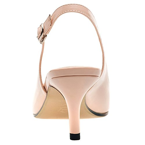 MERUMOTE Women Slingbacks Sandals Kitten Heels Shoes Sumer Daily Walk Nude JFyECT