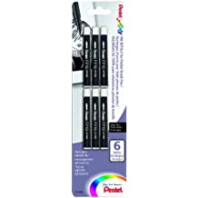 Pentel Arts Pocket Brush Refills, Black Ink, Pack of 6 (FP10BP6A)