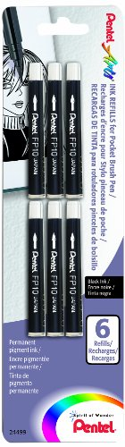(Pentel Arts Pocket Brush Refills, Black Ink, Pack of 6 (FP10BP6A))