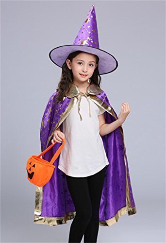 Halloween Costumes Witch Wizard Cloak with Hat for Kids Boys Girls (Purple)
