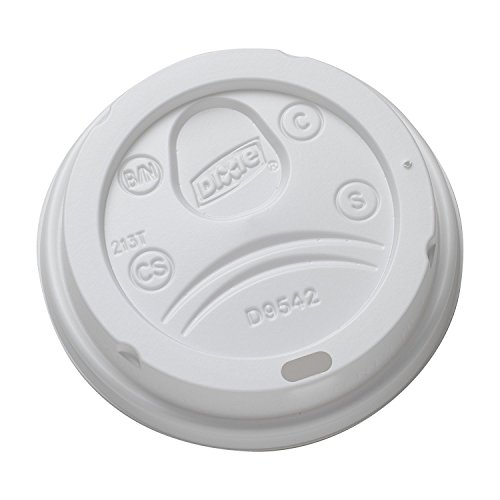 Dixie 9542500DXPK Dome Drink-Thru Lids, Fits 10, 12 & 16oz Paper Hot Cups, White, 100/Pack ()