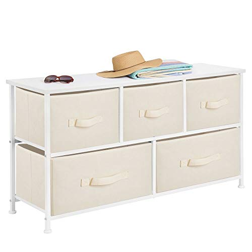 - mDesign Extra Wide Dresser Storage Tower - Sturdy Steel Frame, Wood Top, Easy Pull Fabric Bins - Organizer Unit for Bedroom, Hallway, Entryway, Closets - Textured Print - 5 Drawers - Cream/White