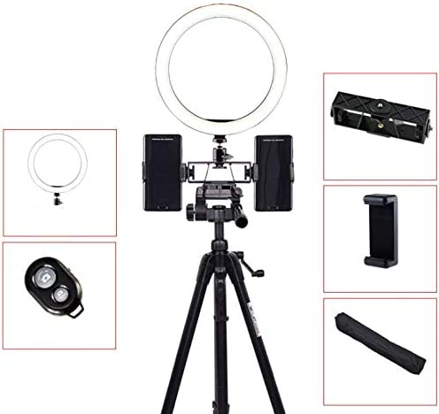Ring Light Makeup Ringlight with Tripod Stand 3 Lighting Modes Level Compatible with Smartphone for YouTube Live Stream Facebook etc,Ordinary 10 Double Position Selfie Light