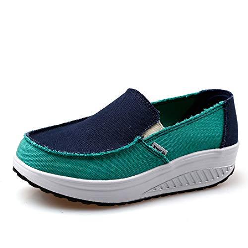 Qiusa Zapatos de Lona Mujer Rocker Sole Mixed Color Platform Trainers (Color : Verde, tamaño : EU 37) Verde