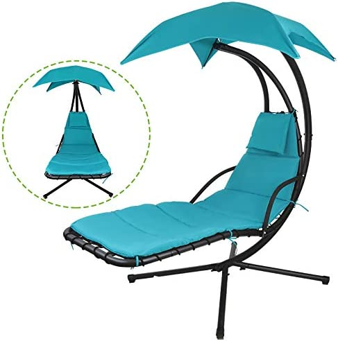 Flex HQ Hanging Chaise Lounger Chair Arc Stand Porch Swing Hammock Chair W/Canopy Blue