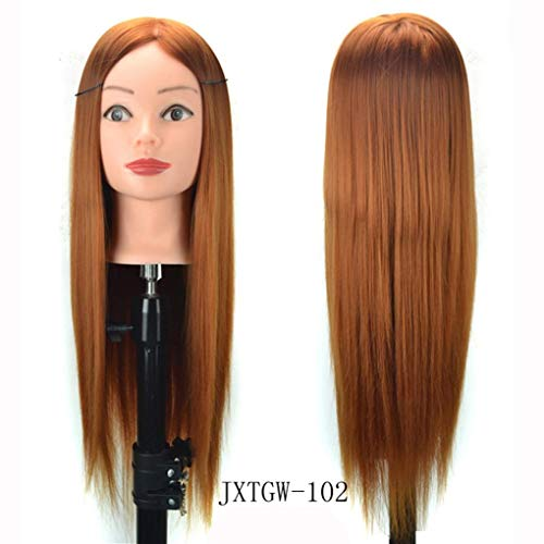 Jinjiums Women's Wigs,Fashionable Hair Styling Wig Practice Training Head Mannequin Hairdressing Halloween Cosplay (A) -